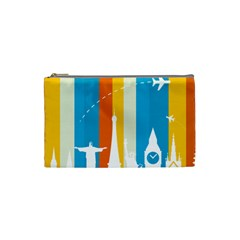 Eiffel Tower Monument Statue Of Liberty Cosmetic Bag (small)  by Mariart