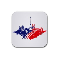 Eiffel Tower Monument Statue Of Liberty France England Red Blue Rubber Square Coaster (4 Pack)  by Mariart