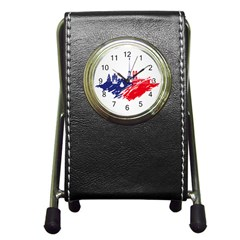 Eiffel Tower Monument Statue Of Liberty France England Red Blue Pen Holder Desk Clocks by Mariart