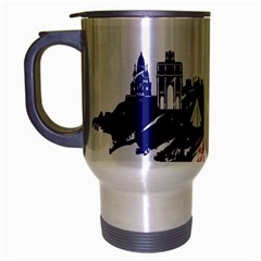 Eiffel Tower Monument Statue Of Liberty France England Red Blue Travel Mug (silver Gray) by Mariart