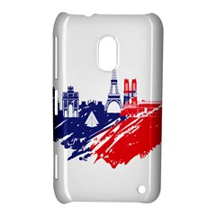Eiffel Tower Monument Statue Of Liberty France England Red Blue Nokia Lumia 620 by Mariart