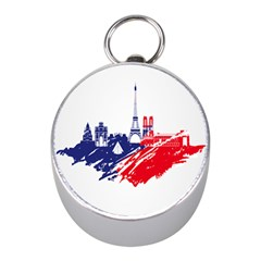Eiffel Tower Monument Statue Of Liberty France England Red Blue Mini Silver Compasses by Mariart