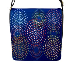 Fireworks Party Blue Fire Happy Flap Messenger Bag (l)  by Mariart