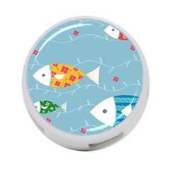 Fish Cute Swim Blue Sea 4 Port Usb Hub (two Sides)  by Mariart