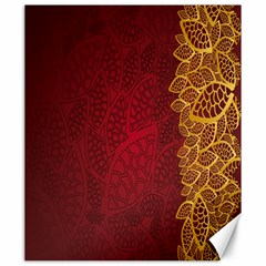 Floral Flower Golden Red Leaf Canvas 20  X 24   by Mariart