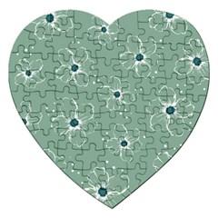 Flower Floral Sakura Sunflower Rose Blue Jigsaw Puzzle (heart) by Mariart