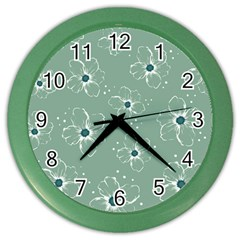 Flower Floral Sakura Sunflower Rose Blue Color Wall Clocks by Mariart