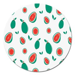 Fruit Green Red Guavas Leaf Magnet 5  (round) by Mariart