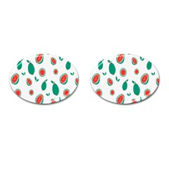Fruit Green Red Guavas Leaf Cufflinks (oval) by Mariart