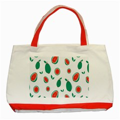 Fruit Green Red Guavas Leaf Classic Tote Bag (red) by Mariart