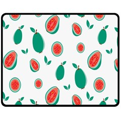 Fruit Green Red Guavas Leaf Double Sided Fleece Blanket (medium)  by Mariart