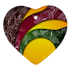 Flower Floral Leaf Star Sunflower Green Red Yellow Brown Sexxy Ornament (heart) by Mariart