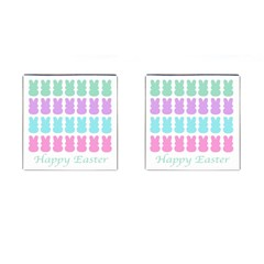 Happy Easter Rabbit Color Green Purple Blue Pink Cufflinks (square) by Mariart