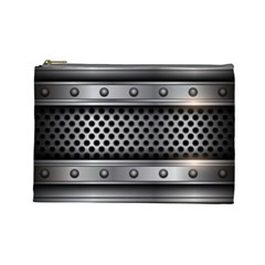 Iron Content Hole Mix Polka Dot Circle Silver Cosmetic Bag (large)  by Mariart