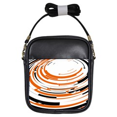 Hole Black Orange Arrow Girls Sling Bags by Mariart