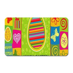 Happy Easter Butterfly Love Flower Floral Color Rainbow Magnet (rectangular) by Mariart