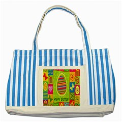 Happy Easter Butterfly Love Flower Floral Color Rainbow Striped Blue Tote Bag by Mariart