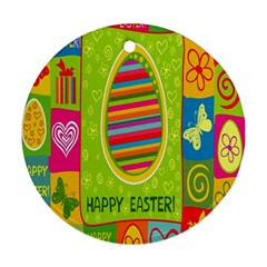Happy Easter Butterfly Love Flower Floral Color Rainbow Round Ornament (two Sides) by Mariart