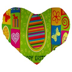 Happy Easter Butterfly Love Flower Floral Color Rainbow Large 19  Premium Flano Heart Shape Cushions by Mariart