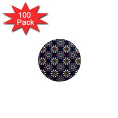 Floral Flower Star Blue 1  Mini Magnets (100 Pack)  by Mariart