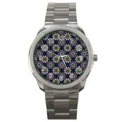 Floral Flower Star Blue Sport Metal Watch by Mariart