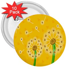 Leaf Flower Floral Sakura Love Heart Yellow Orange White Green 3  Buttons (10 Pack)  by Mariart