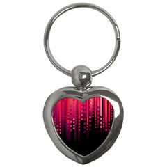 Line Vertical Plaid Light Black Red Purple Pink Sexy Key Chains (heart)  by Mariart