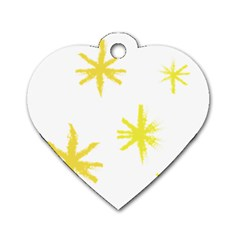 Line Painting Yellow Star Dog Tag Heart (one Side) by Mariart