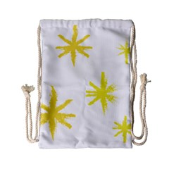 Line Painting Yellow Star Drawstring Bag (small) by Mariart