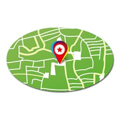 Map Street Star Location Oval Magnet by Mariart