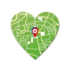 Map Street Star Location Heart Magnet by Mariart