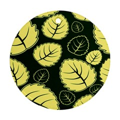 Leaf Green Yellow Round Ornament (two Sides) by Mariart