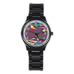 Origami Bird Japans Papper Stainless Steel Round Watch by Mariart