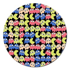 Pacman Seamless Generated Monster Eat Hungry Eye Mask Face Color Rainbow Magnet 5  (round) by Mariart