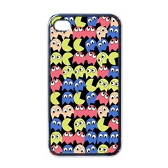 Pacman Seamless Generated Monster Eat Hungry Eye Mask Face Color Rainbow Apple Iphone 4 Case (black) by Mariart