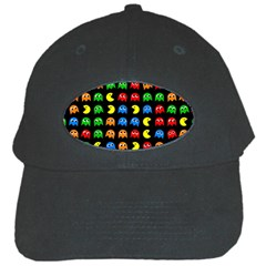 Pacman Seamless Generated Monster Eat Hungry Eye Mask Face Rainbow Color Black Cap by Mariart