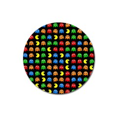 Pacman Seamless Generated Monster Eat Hungry Eye Mask Face Rainbow Color Magnet 3  (round) by Mariart