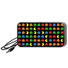 Pacman Seamless Generated Monster Eat Hungry Eye Mask Face Rainbow Color Portable Speaker (black) by Mariart
