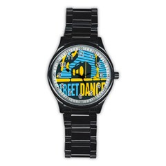 Street Dance R&b Music Stainless Steel Round Watch by Mariart