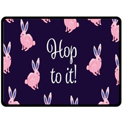Rabbit Bunny Pink Purple Easter Animals Double Sided Fleece Blanket (large)  by Mariart