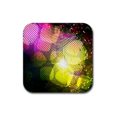 Plaid Star Light Color Rainbow Yellow Purple Pink Gold Blue Rubber Square Coaster (4 Pack)  by Mariart