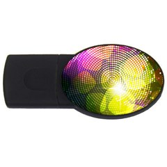 Plaid Star Light Color Rainbow Yellow Purple Pink Gold Blue Usb Flash Drive Oval (2 Gb) by Mariart