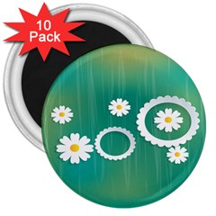 Sunflower Sakura Flower Floral Circle Green 3  Magnets (10 Pack)  by Mariart