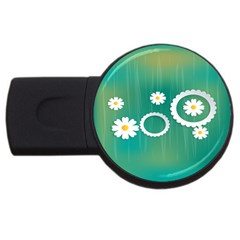 Sunflower Sakura Flower Floral Circle Green Usb Flash Drive Round (4 Gb) by Mariart