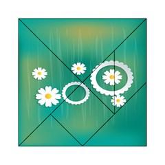 Sunflower Sakura Flower Floral Circle Green Acrylic Tangram Puzzle (6  X 6 ) by Mariart