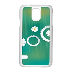 Sunflower Sakura Flower Floral Circle Green Samsung Galaxy S5 Case (white) by Mariart