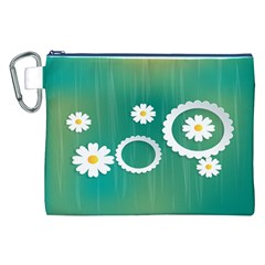 Sunflower Sakura Flower Floral Circle Green Canvas Cosmetic Bag (xxl) by Mariart