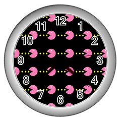 Wallpaper Pacman Texture Bright Surface Wall Clocks (silver)  by Mariart