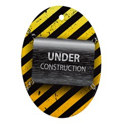 Under Construction Sign Iron Line Black Yellow Cross Ornament (oval) by Mariart