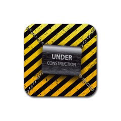 Under Construction Sign Iron Line Black Yellow Cross Rubber Square Coaster (4 Pack)  by Mariart